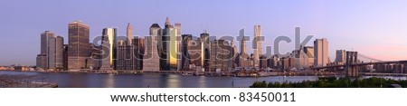 Panorama of downtown Manhattan viewed from Brooklyn Heights in New York City. - stock photo