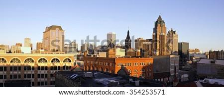 Panorama of downtown Milwaukee - seen during sunset - stock photo
