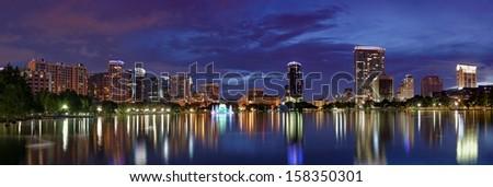 Panorama of Downtown Orlando - stock photo