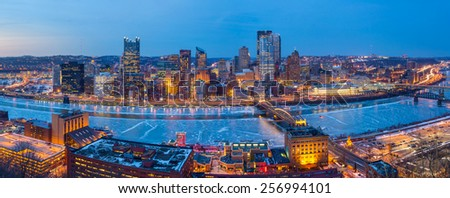 Panorama of downtown Pittsburgh at twilight - stock photo