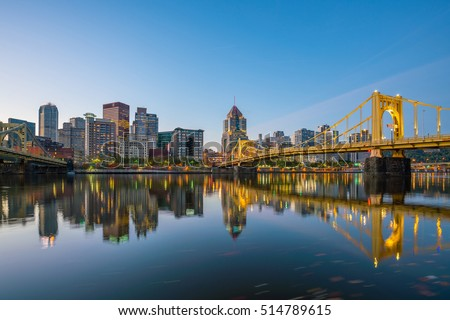 Panorama of downtown Pittsburgh skyline at twilight