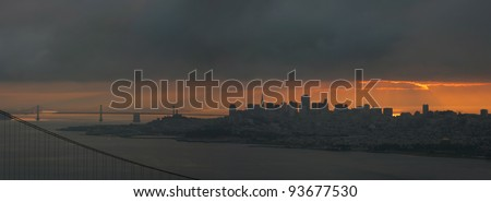 Panorama of downtown San Francisco on an overcast day - stock photo
