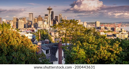 Panorama of Downtown Seattle with Space Needle from Kerry Park - stock photo