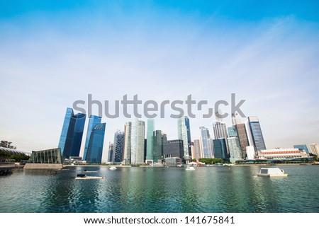 Panorama of downtown skyline Singapore. - stock photo