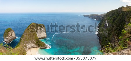 panorama of dream beach on coastline at Bali, Manta Point famous Diving place, Nusa Penida with blue sky - stock photo
