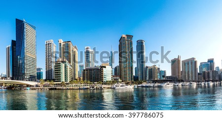 Panorama of Dubai Marina in a summer day, UAE
