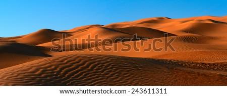 Panorama of dunes in Tunisian Sahara desert  - stock photo