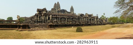 Panorama of exterior galleries of the main temple at  Angkor Wat,  Cambodia - stock photo