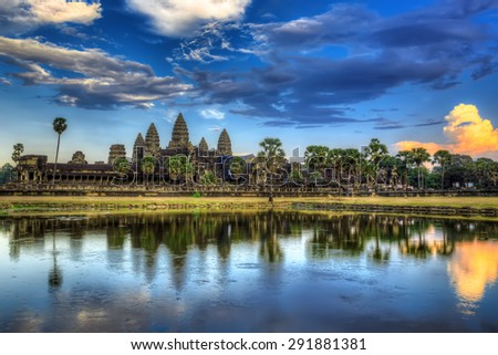 Panorama of famous Cambodia landmark Angkor Wat. - stock photo