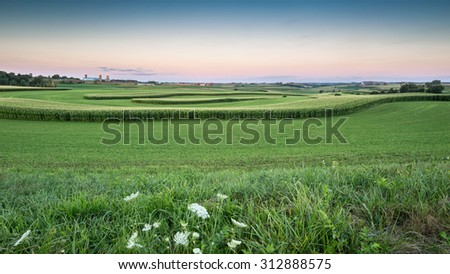 Panorama of Farm Land in the Driftless Area in Wisconsin - with rolling hills and fields of curving corn and the setting sun.  America! - stock photo