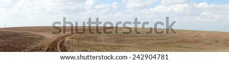 Panorama of farmland in rural Israel                                - stock photo