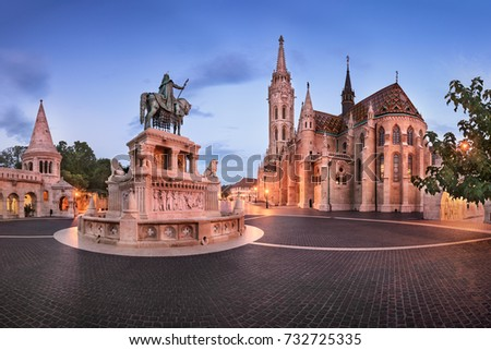 Panorama of Fisherman Bastion and Saint Matthias Church in the Morning, Budapest, Hungary