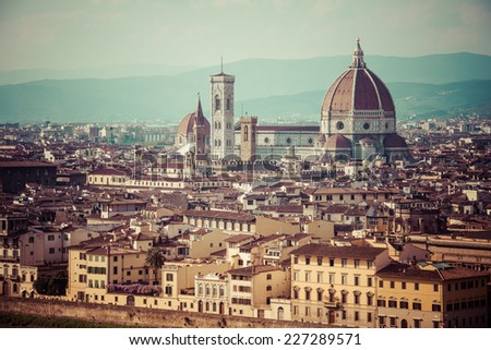 Panorama of Florence and Saint Mary of the Flower in Florence, Italy. Toned picture - stock photo