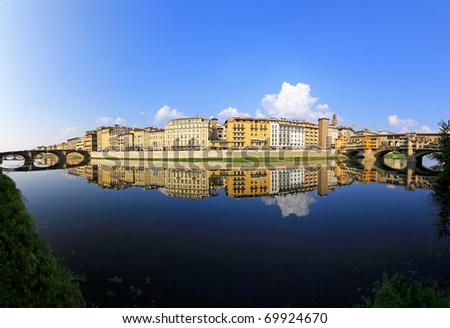Panorama of Florence ant two bridges at Arno river - stock photo