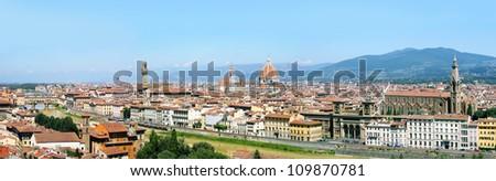Panorama of Florence with Basilica di Santa Maria del Fiore, Palazzo Vecchio, Ponte Vecchio, Uffizi Gallery and Basilica di Santa Croce - stock photo