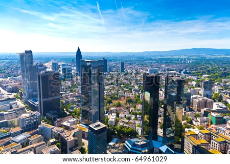 Panorama of Frankfurt am Main, Germany. - stock photo