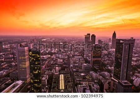 Panorama of Frankfurt am Main (Germany) at sunset - stock photo