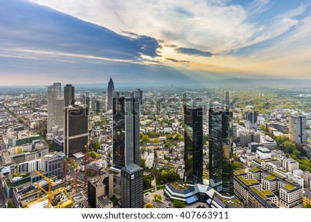 panorama of Frankfurt am Main with skyscrapers - stock photo