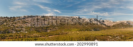 Panorama of French mountains  - stock photo