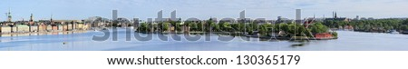 Panorama of Gamla Stan, Norrmalm, Ostermalm, Skeppsholmen, Kastellholmen and Djurgarden in Stockholm, Sweden - stock photo