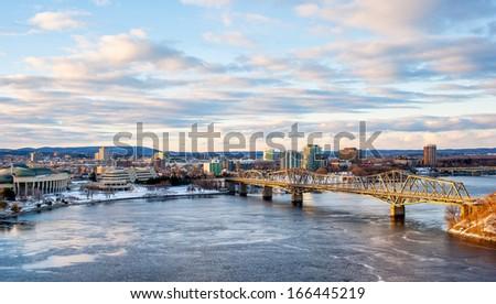 Panorama of Gatineau Behind Parliament Hill Ottawa Canada - stock photo