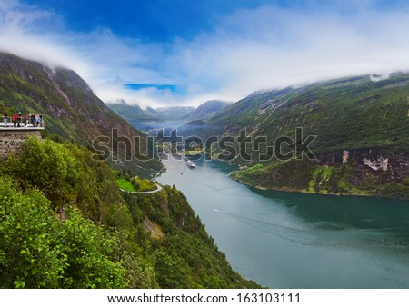 Panorama of Geiranger fjord Norway - nature and travel background