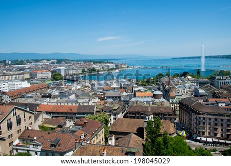 Panorama of Geneva including Lake and famous fountain.. - stock photo
