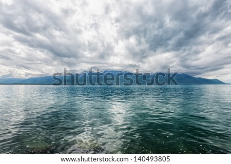 Panorama of Geneva lake near Montreux. Switzerland - stock photo