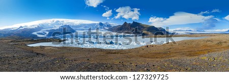 Panorama of Glacial Lagoon Fjalls�¡rl�³n Iceland. Shot during the summer this is the biggest glacier Vatnajokull in Europe and is in the Skaftafell National Park.