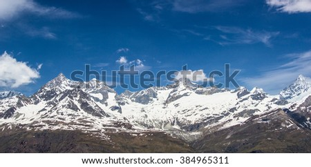 panorama of glacier at gornergrat station, zermatt, switzerland