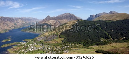 Panorama of Glencoe and Loch Leven, a popular outdoor holiday destination in the Scottish Highlands.