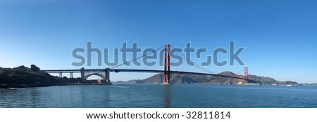 Panorama of Golden Gate Bridge in San Francisco.