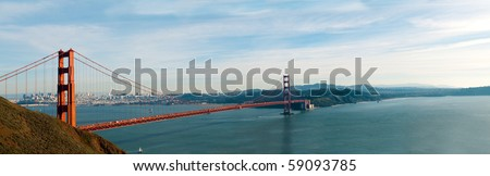 panorama of Golden Gate Bridge in San Francisco in the early evening