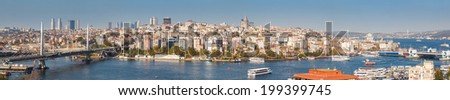Panorama of Golden Horn Gulf and the Bosphorus in Istanbul, Turkey - stock photo