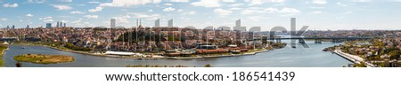 Panorama of Golden Horn Gulf in Istanbul at day, Turkey - stock photo