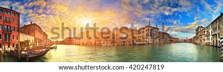 Panorama of Grand Canal at sunset, Venice, Italy - stock photo