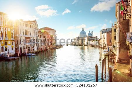 stock photo panorama of grand canal in venice italy 524131267 - Каталог — Фотообои «Венеция»