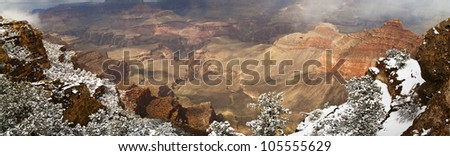 Panorama Of Grand Canyon with Snow - stock photo