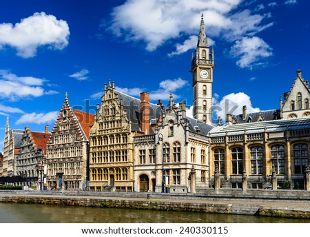 Panorama of Graslei, historical center of Gent with medieval house facades, West Flanders in Belgium. - stock photo