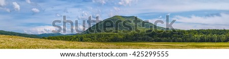 Panorama of Green Hill Landscape with Cloudy Sky