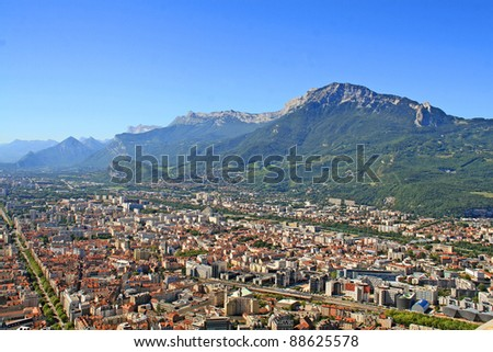 panorama of Grenoble with Alps in background