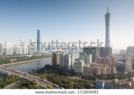Panorama of Guangzhou in daytime, Zhujiang New Town. - stock photo