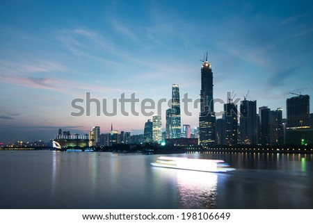 Panorama of Guangzhou in daytime, Zhujiang New Town - stock photo