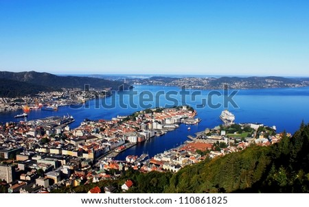 Panorama of gulf, City of Bergen, Norway