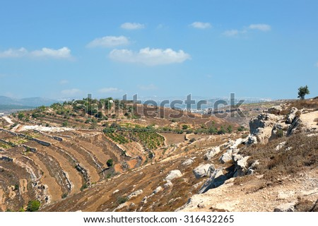 panorama of  Gush  Etzion. Israel. - stock photo