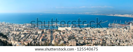 Panorama of haifa city from Israel - stock photo
