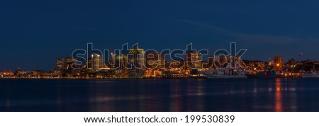 Panorama of Halifax Nova Scotia at night (taken from across the harbour in Dartmouth) - stock photo