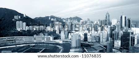 Panorama of Happy Valley in early morning, Hong Kong - stock photo