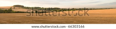 Panorama of harvested fields around Hanchurch, Staffordshire - stock photo