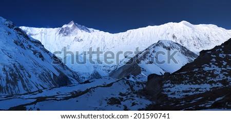Panorama of high mountains in Himalaya. Beautiful natural landscape - stock photo